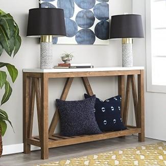 Nueva mesa de entrada rústica con marco en A de 52 pulgadas de ancho con tapa de color mármol y acabado en nogal