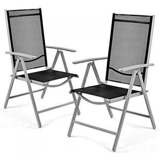Giantex Juego de 2 sillas plegables para patio Piscina reclinable de jardín interior reclinable ajustable