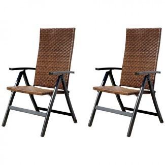 Silla de patio plegable reclinable con respaldo alto, marco blanco ...