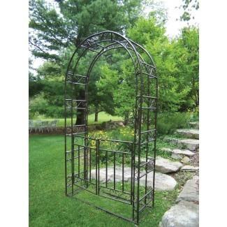 Cenador de acero con portón y base