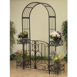 Cenador de metal para jardín con puertas y jardineras