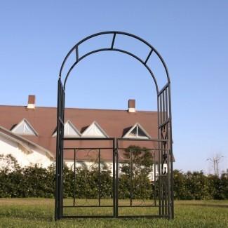 Cenador de acero arqueado con puerta para jardín