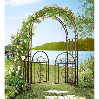 Cenador de jardín Montebello Iron con cenador Puerta | Acentos de jardín ...