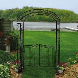 Austram Royal Garden 7.5-ft. Cenador de arco de hierro con puerta