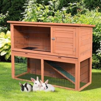 Lenora Rabbit HutchBunny House con una carrera al aire libre más baja