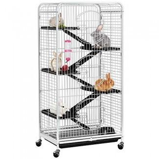Yaheetech 52 '' Jaula de metal grande de 6 niveles y hábitat Hutch para animales pequeños con 3 puertas delanteras / Alimentador / Ruedas para ratas adultas Bunny Interior al aire libre -Blanco