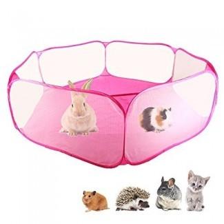 Amakunft Small Animals C&C Cage Carpa, corralito para mascotas transpirable y transparente Pop abierto al aire libre / interior valla de ejercicio, valla de patio portátil para conejillo de Indias, conejos, hámster, chinchillas y erizos