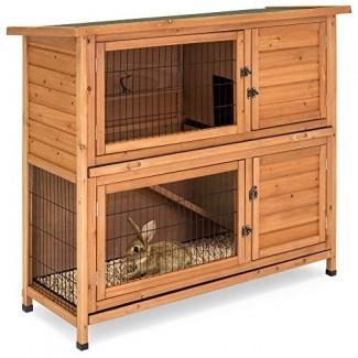 Best Choice Products 48x41in Jaula para animales de madera de 2 pisos al aire libre para conejera para jardín, jardín con escalera - Marrón
