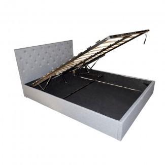 Estructura de cama de almacenamiento con elevador de gas Queen Queen gris claro SB010