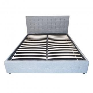 Estructura de cama de almacenamiento con elevador de gas de tela Queen, gris claro SB031