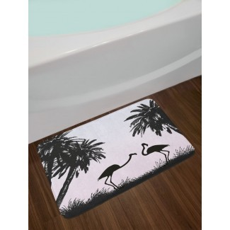 Nature Flamingo Birds and Palm Trees en Miami Exotic Natural Scenery Artwork Alfombra antideslizante de baño de felpa