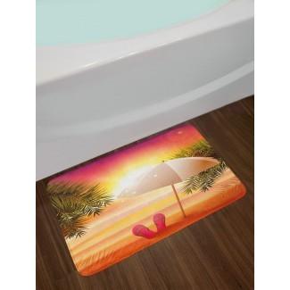 Atardecer en la playa con chanclas, sombrilla y palmeras Ilustración Alfombra de baño antideslizante de felpa