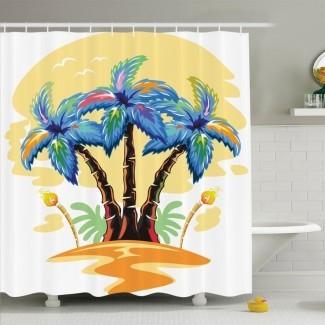Palm Tree Cartoon Tropical Island con palmeras hawaianas Antorcha Gaviotas al atardecer Set de cortinas de ducha
