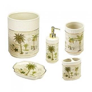 Juego de accesorios de baño Avanti Linens Colony Palm de 5 piezas: vaso de marfil, soporte para cepillo de dientes, jabonera, bomba Loption, papelera,