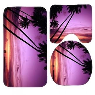 Juego de alfombrillas de baño Palm Tree Sunset, juego de alfombrillas de baño de 3 piezas Alfombras de baño antideslizantes / alfombrilla de contorno / cubierta de inodoro de TEYAYA