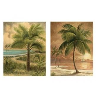"""wallsthatspeak 8 """"x 10"""" Island Palm Tree Wall Prints para el hogar (juego de 2), decoración de escena de playa para baño u oficina, decoraciones para fiestas náuticas / de playa, arte hawaiano para sala de estar"""