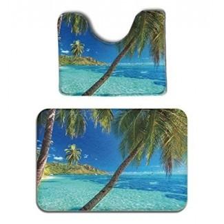 JACINTAN Juego de alfombras de baño de 2 piezas Memory Foam - Palmeras y mar brillante - Alfombra de baño antideslizante y alfombra para el asiento del inodoro Alfombra