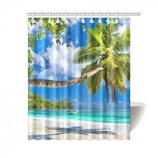 BPBOP Palm Tree Cortina de ducha con hojas, palmera tropical ...