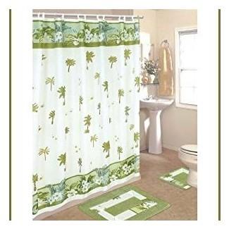 Amazon.com: Juego de baño Palm Tree de 15 piezas: 2 alfombras / tapetes ...