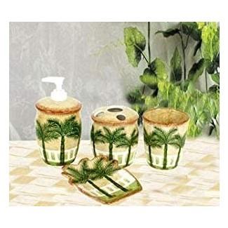 Amazon.com: juego de baño tropical con palmeras para baño ...