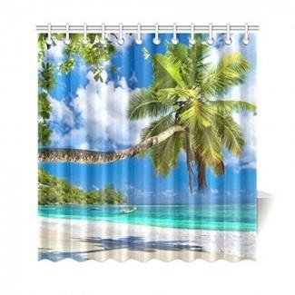 Cortina de ducha con hojas de palmera BPBOP, palmera tropical ...