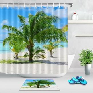 Ducha de palmera de playa tropical Juego de cortina para baño ...