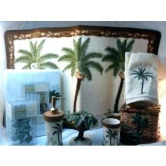 Juego de alfombra de baño de palmera Baño Ducha de decoración tropical ...