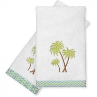 Toallas de palmera, juego de 2, verde -