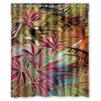 GreenDecor Palm Tree Leaves Set de cortina de ducha impermeable ...