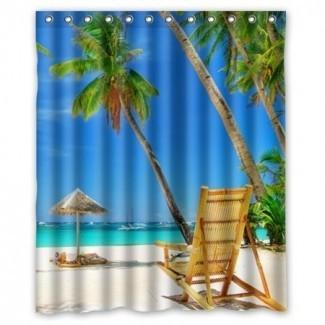 Juego de cortinas de ducha impermeables GreenDecor Beach Palm Tree ...