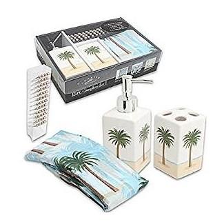 Amazon.com: Juego de baño de 15 piezas de palmeras tropicales -Playa