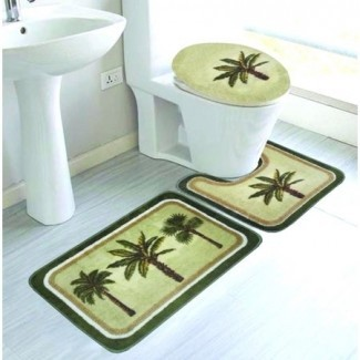 Juego de alfombras de baño PALM TREE de 3 piezas, absorbente, antideslizante, grande ...