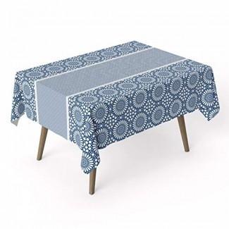 ARDEA HOME Mantel azul de algodón | Cubiertas de mesa de algodón laminado a prueba de agua para mesas rectangulares | Resistente a las manchas y toallita limpia Mantel Ideal para fiestas y niños | Sábanas planas ecológicas