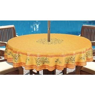"""Mantel de paraguas - Mantel redondo resistente a las manchas Aceitunas de 70 """"Ramas en oro amarillo - Mantel resistente a las manchas recubierto de acrílico de algodón -"""