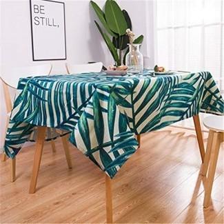 zfdvho Patrón de planta Lino de algodón Decoración de mantel impermeable Decoración del hogar Mantel