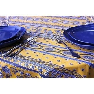 Mantel Revestido de Algodón Rectangular u Ovalado de 72 a 130 pulgadas Aviñón en Oro y Azul - Uso Interior y Exterior - Mantel de Provenza Francesa de Fácil Cuidado - Elija la Forma y Longitud-