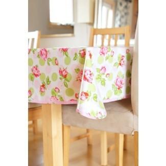 Mantel de algodón laminado que cae rosas en rosa o azul [19659012] Mantel de algodón laminado que cae rosas en rosa o azul </div> </p></div> <div class=