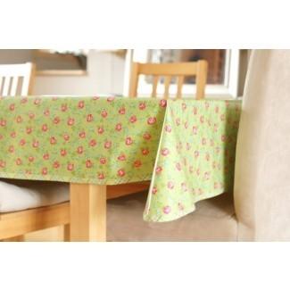 Mantel de algodón laminado Rosas dispersas en verde