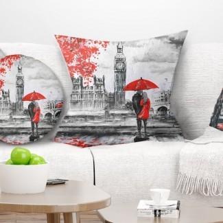 Parejas con estampado de paisaje caminando en la almohada de París