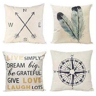 Fundas de almohada decorativa anickal 18x18 pulgadas Juego de 4 algodón L inen Compass Arrow Feather Live Love Laugh Quote Fundas de almohadas de sofá para una decoración moderna y sencilla de estilo de granja