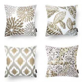 Phantoscope Set de 4 New Living Series Funda de almohada decorativa de color café Funda de cojín de 18 x 18 pulgadas 45 cm x 45 cm