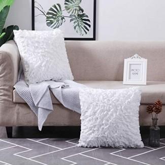 Fundas de almohada decorativa MoMA (juego de 2 ) - Funda de almohada para sofá Funda de cojín simulado - Funda de almohada cuadrada