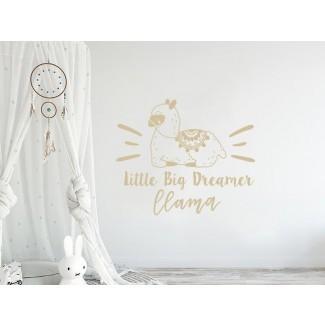 Calcomanía de pared infantil Little Big Dreamer Llama Quote
