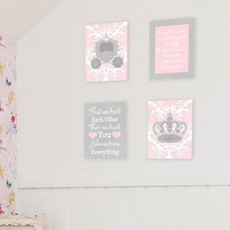 Placa de pared de arte gráfico 'Girl Sweet Messages' (juego de 4)