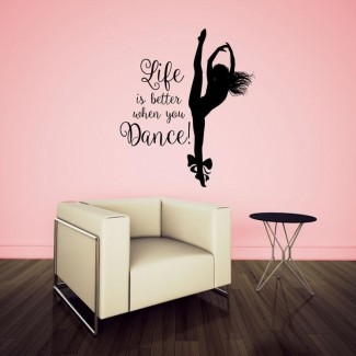 Hameldon Life is Better When You Dance with Dancing Girl Graphic Wall Decal
