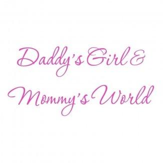 Calcomanía de pared Hutchens Daddy's Girl y Mommy's World Black Nursery