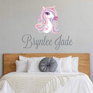 Adhesivo de pared de nombre personalizado Unicorn Nursery - Adhesivo de nombre personalizado de niña Unicornio - Letrero de nombre personalizado - Monograma de plantilla de nombre personalizado - Decoración de pared de guardería de niñas