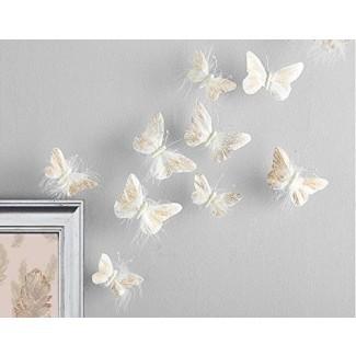 Inspirado por Jewel Butterfly Decoraciones de pared Calcomanías de pared 3D con plumas reales de calidad premium Dormitorio de niñas   Impresionantes pegatinas de decoración con purpurina dorada Todas las habitaciones y juegos infantiles   10 piezas adhesivas