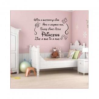 Etiqueta engomada del arte de la pared de la niña de los príncipes de la guardería, etiqueta del arte de la pared