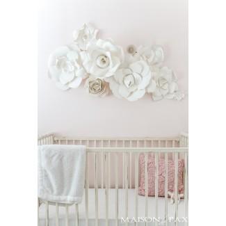 Arte de pared de flores de papel en la guardería - Maison de